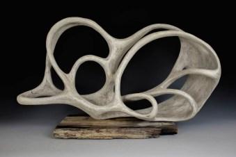 porcelain, petrified wood, 20 in x 7.5 in x 11.5 in, 2017