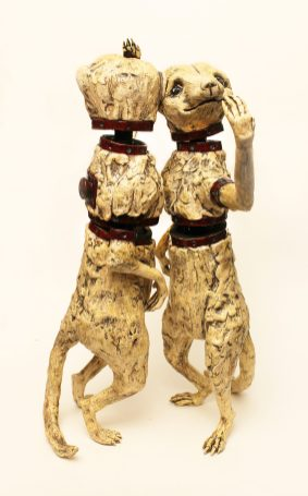 This piece was fired in parts and assembled post-firing on a wooden armature with epoxy.