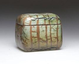 10 cm X 13 cm X11 cm electric fired 1120°C, local fire clays, engobes, clear glaze