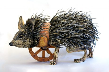 Modeled after a desert hedgehog. Quills are composed of cast-away materials including tubing, rope, acrylic twine, zip ties, etc.