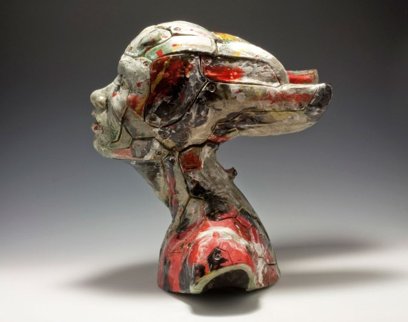 """White Earthenware, Colored Slips, Luster, H14"""" x L14"""" x W12"""", 2015"""