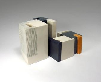 22 x 18 x 21,5 cm and 21,2 x 15,5 x 11,5 cm, white clay, glazes, electric firing, 2006