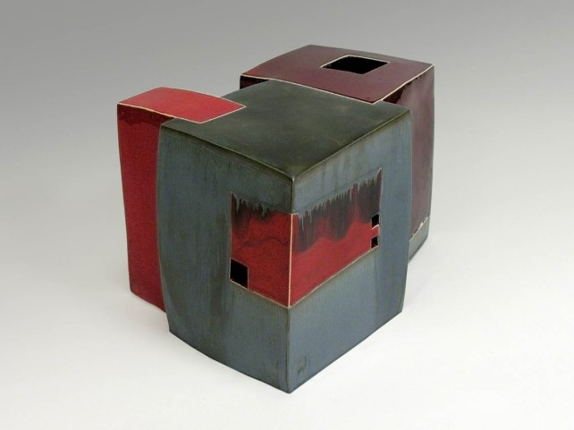19 x 28 x 21 cm, white clay, glazes, electric firing, 2006
