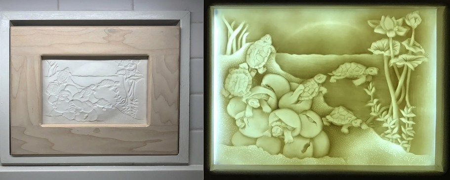This lithophane panel of a turtle landscape was originally carved on plaster, as a very shallow bas-relief, before casting it in translucent porcelain slip. Once the thin slip stopped shining, I removed it for dying out on a plaster bat, with a small, shallow depression in the center. This experiment gave me a surprise rainbow just over the pond, with back lighting, once dry and fired to cone 6!! The image, like all my work, was taken from one of my children's book illustrations. I am giving workshops for this technique, creating night lights. I would show more but thought I should show some highlights of my career in ceramics over these past 20 years.