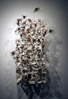 2' x 4', Salvaged metal, clay slip, 2013