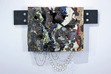 "porcelain, wood, metal, & ceramic materials, 2017, 36"" x 24"" x 2.5"""