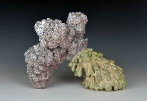 "7"" x 8.5"" x 5"", Porcelain, sodium borate, mixed media, 2016"