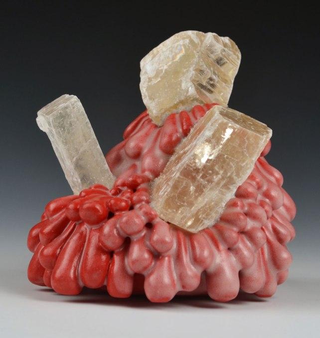"""5"""" x 4"""" x 4"""", Porcelain, quartz, mixed media, 2017"""