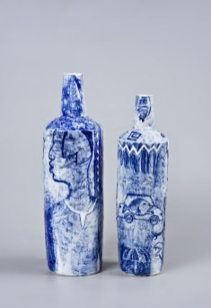 underglaze painting on porcelain vases, left 43x14cm right 39x11cm, 2016