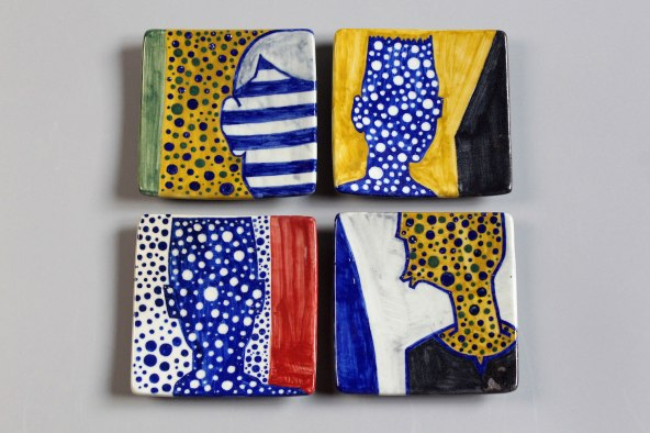 underglaze painting on porcelain plates, 11.5x11.5cm each, 2017