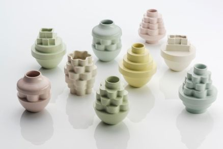 The simple experimenting of stack moulds , many pieces of small individual mould on top each other to creat a form.