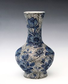 2014, Porcelain, 5 x 6 x 9 inches, slip-cast underglaze applied with a slip trailer on bisqueware then a clear glaze is applied, bisque fired to cone 06 oxidation, glaze fired in cone 10 reduction, vintage decals applied and fired to cone 022 oxidation