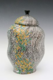 2014, Porcelain, 5 x 5 x 8 ¼ inches, slip-cast and thrown, underglaze applied with a slip trailer on bisqueware then a clear glaze is applied, bisque fired to cone 06 oxidation, glaze fired in cone 10 reduction, vintage decals applied and fired to cone 022 oxidation