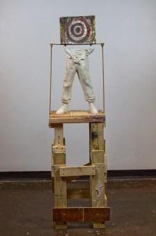 "Ceramic, steel, found wood, rope, underglaze, wash, 64x16x14"", 2016"