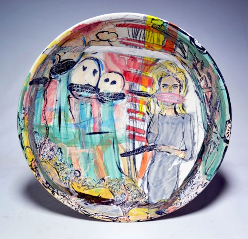 "Earthenware, slip, underglaze, underglaze pencil, glaze, gold and platinum luster. Wheel thrown. 20L"" X 20W X 5H"", 2014."