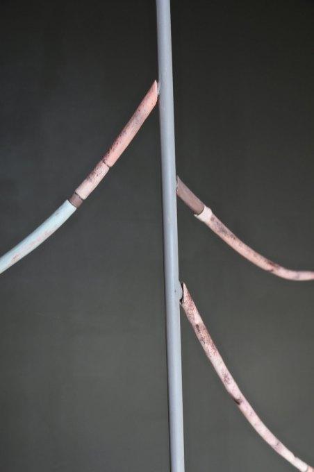 2014, steel, clay, fiber, ink, 82 x 67 x 12 in.