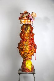 Clay, Lustre, Resin and Rabbit Fur. 1400x390mm