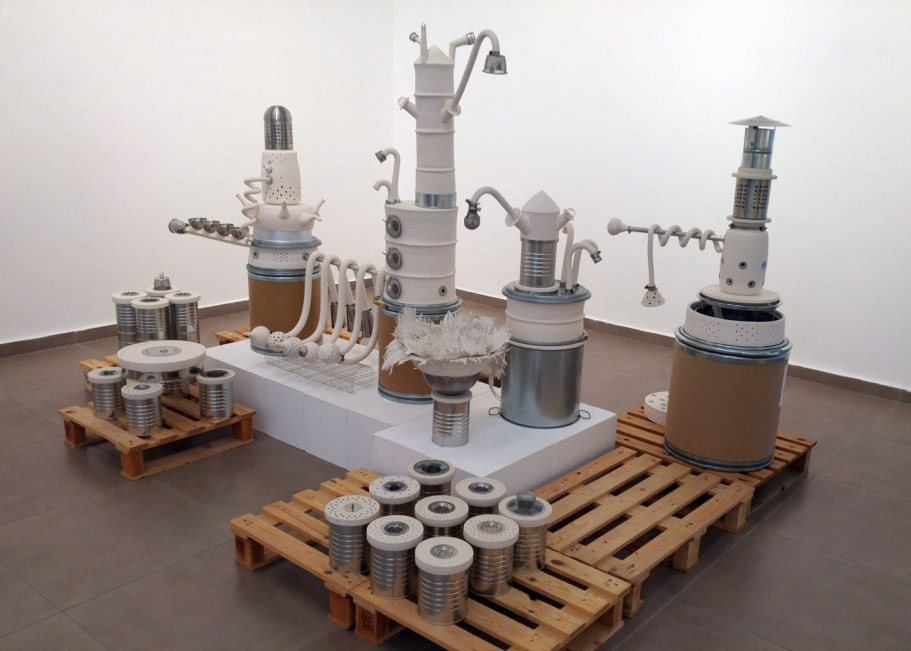 "porcelain, stainless steel, glass, tin, cardboard, wood, 9'6""x6'10"", 2017"