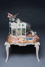 Ceramic, mixed media, porcelain table, 54''h x 37''w x 33''d, 2018