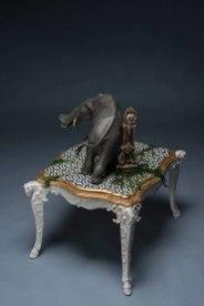 Ceramic, mixed media, porcelain table, 49''h x 37''w x 33''d, 2018