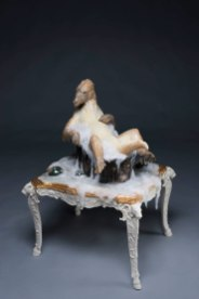 Ceramic, mixed media, porcelain table, 53''h x 37''w x 33''d, 2018