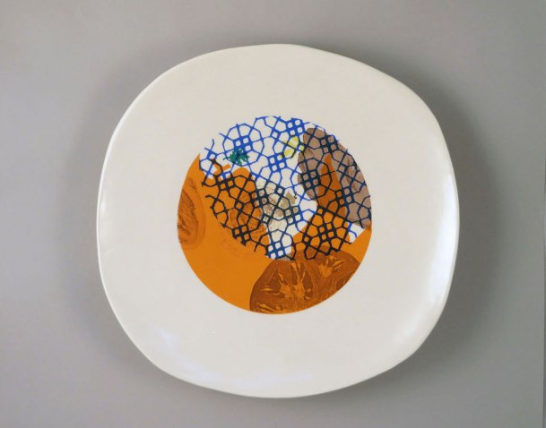 """Mid-range porcelain, slab and wheel off hump, laser, color sheet and digital and decals, 2 x 15 x 15"""", 2014"""