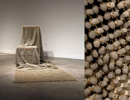 """porcelain, waxed thread, chair, 72"""" x 36"""" x 38"""", dimensions variable, 2015 - (ongoing)"""