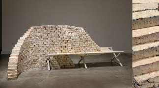 """pulverized afghan blankets, unfired porcelain, wallpaper paste, army cot, 96"""" x 36"""" x 40"""", dimensions variable, 2017"""