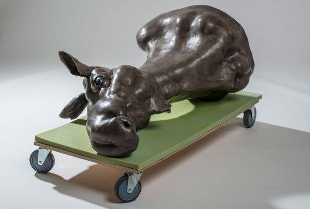 "Ceramic, paint, graphite, foam, wood, caster wheels, 2015, 44"" x 26"" x 30"""