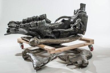 "Ceramic, paint, graphite, wood, caster wheels, 2015, 62"" x 62"" x 36"""