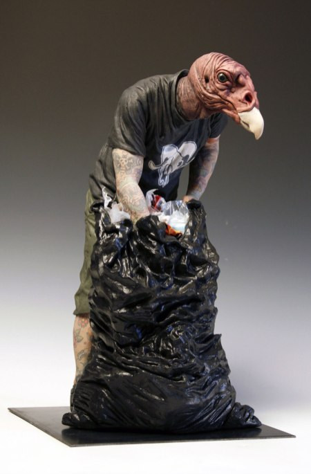2013. Clay and mixed media. Steel base. Dimensions: 20 x 12.5 x 11.5 in