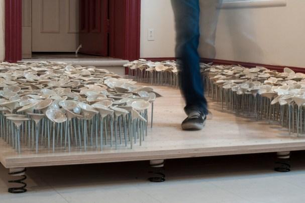Porcelain, hardware, springs, birch plywood, 144 in x 96 in x 12 in // 366 x 244 x 30cm, 2012