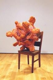 """57""""x 45""""x43"""", Clay, Chair, Thread, 2014"""