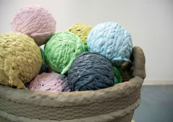 2011, Ceramic, expanding foam, Yarn Balls are 6 inches in diameter