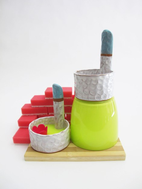 "2013, Ceramic and found materials, 12"" x 9"" x 7"""