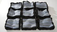 9 parts max h=12cmx20x20, black shamott, colored porcelain (nerikomi)