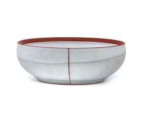 "Alex Watson, ""Grey Serving Bowl with Red Stripe"""