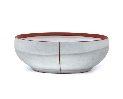 "Alex Watson, ""Grey Serving Bowl with Red Stripe"""