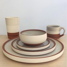 "Alex Watson, ""White and Terra Cotta Dinnerware Set with Blue Stripe"""