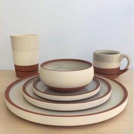"Alex Watson, ""White and Terra Cotta Dinnerware Set with Blue Stripe"""