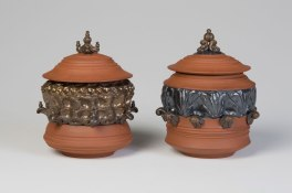 "Jars, 7"" x 5"" x 5"". Ceramic and Glaze. 2010."