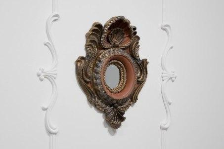 """{Frame}. Ceramic Frame, 30"""" x 25"""" x 7"""". Ceramic, glaze, plaster, paint, velvet backing. 2010."""