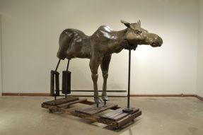 "I Always Thought Durer's Elk Was A Moose, Ceramic, paint, graphite, wood, steel, caster wheels, 96"" x 38"" x 64"", 2013"