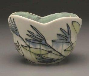 """Cornflowers Bowl, 7"""" x 7"""" x 7"""", Porcelain, Slip, Underglaze, Glaze, 2008"""