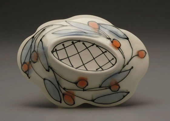 "Orange Starburst Server (back), 2"" x 9 ¾"" x 7, Porcelain, Slip, Underglaze, Glaze, 2008"