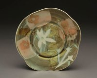 "Hide and Seek Salad Plate, 1"" x 9"" x 9"", Porcelain, Slip, Underglaze, Glaze, 2008"