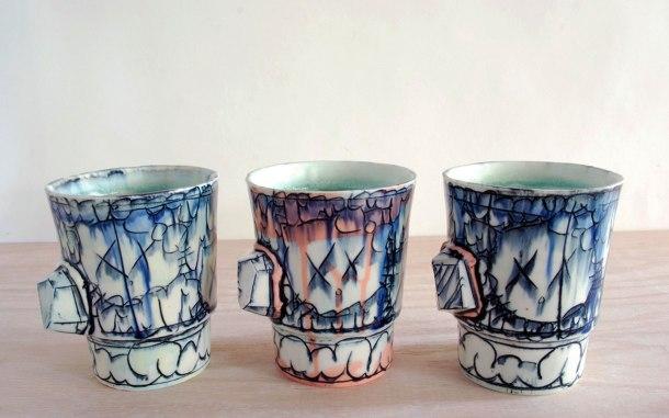 2012, Porcelain, Underglaze, Mason Stain, Cone 6, 4x3x3