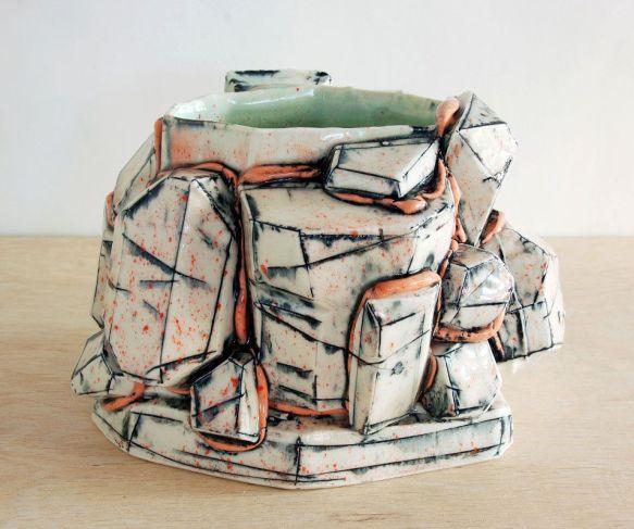 2013, Porcelain, Underglaze, Mason Stain, Cone 6, 6.5x6x3