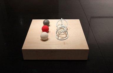 """2014, ceramic, glaze, wood, wax, 36 x 36 x 7"""""""