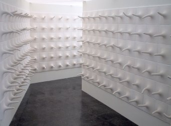 Corridor, Porcelain, 6,5 meter long corridor, 2000. MFA Exhibition at Konstfack, Stockholm, Sweden